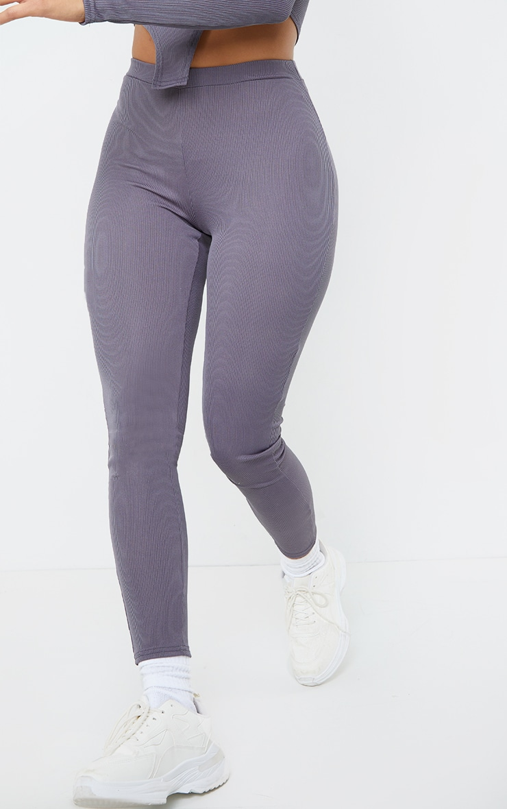 Shape Grey Rib Ruched Bum Detail Leggings 2