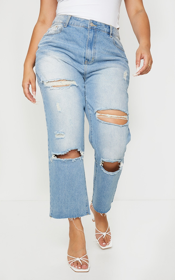 Plus Light Wash Cropped Straight Leg Jean 2