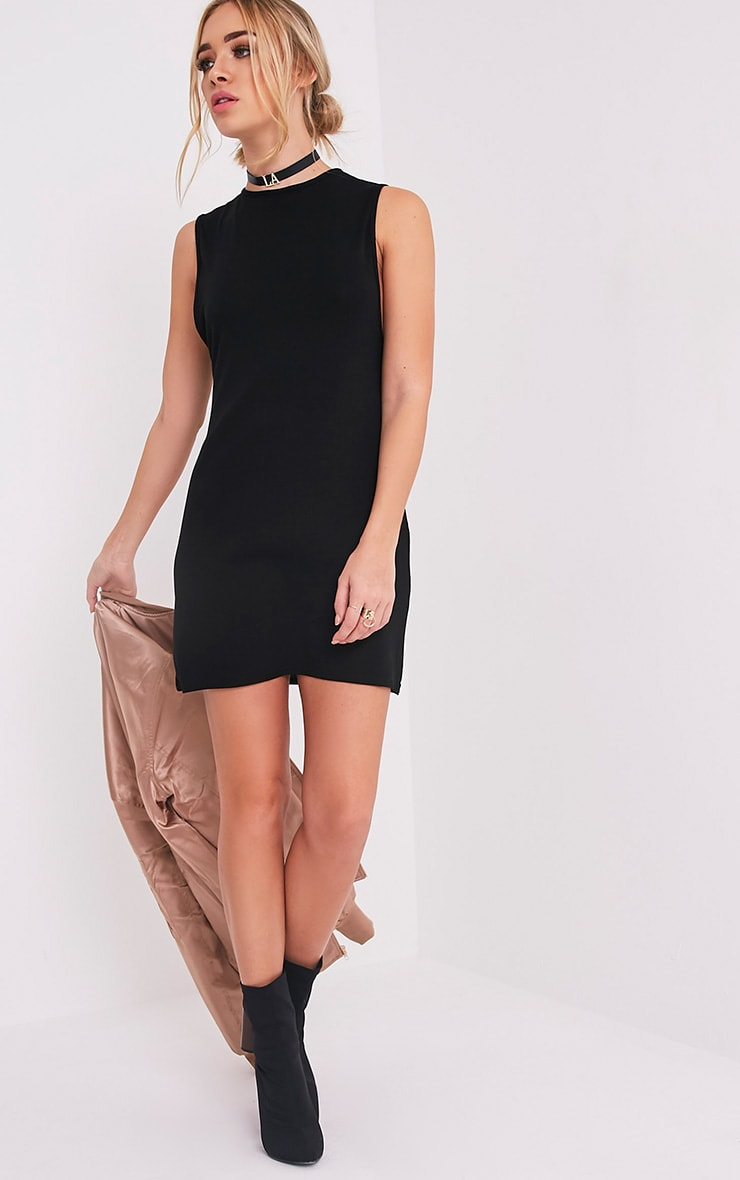 Maddy Black Drop Armhole Sleeveless T-Shirt Dress 5