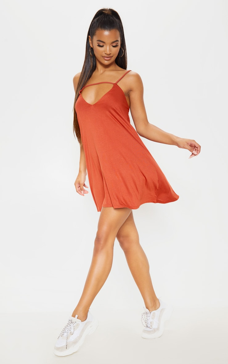 Rust Strappy Cut Out Swing Dress 4