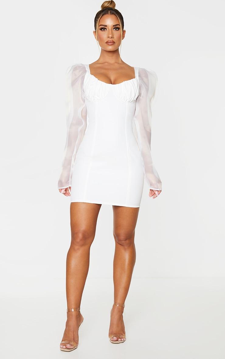 White Organza Sleeve Underwired Bust Bodycon Dress 3