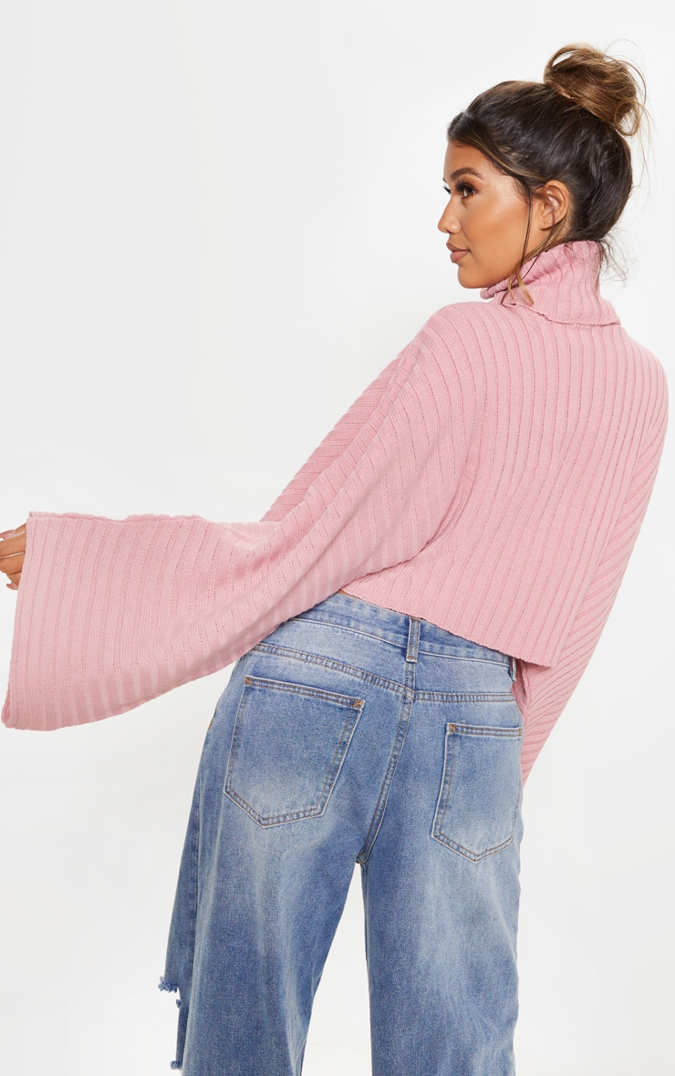 Blush Ribbed Knit High Neck Sweater  2