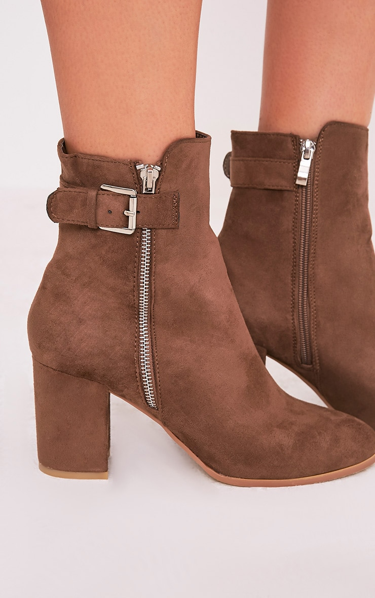 Karina Mocha Faux Suede Buckle Ankle Boots 5