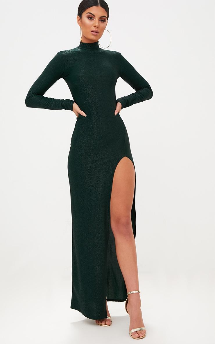 Emerald Green High Neck Glitter Side Split Maxi Dress