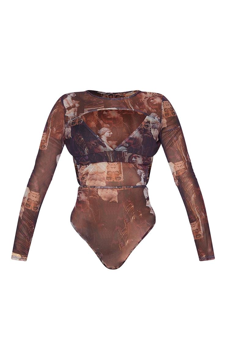 Shape Brown Renaissance Print Mesh Panel Cut Out Detail Bodysuit 5