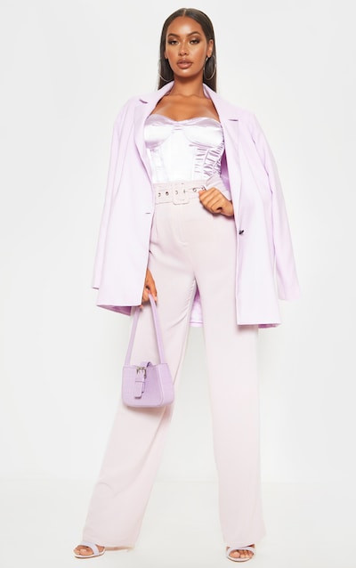 Dusty Lilac Lightweight Woven Belted Wide Leg Trouser