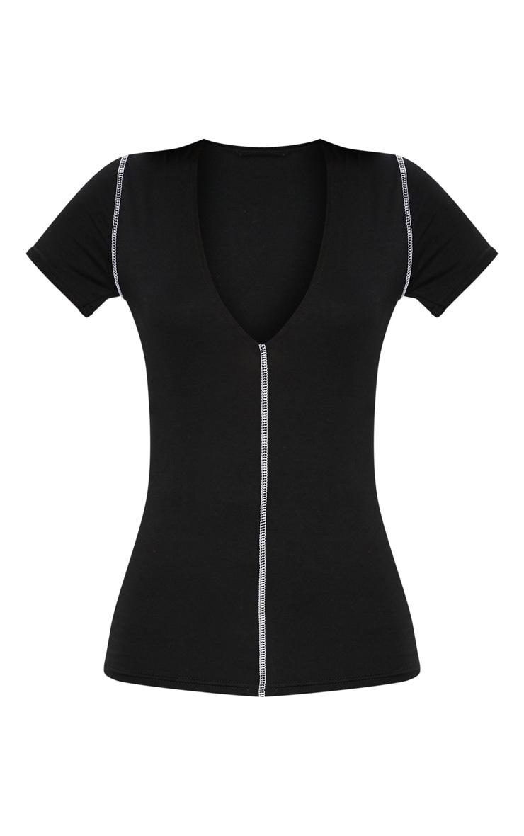 Black Contrast Seam Plunge T Shirt  3