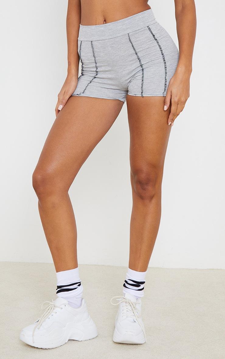 Grey Cotton Seam Detail Hot Pants 2