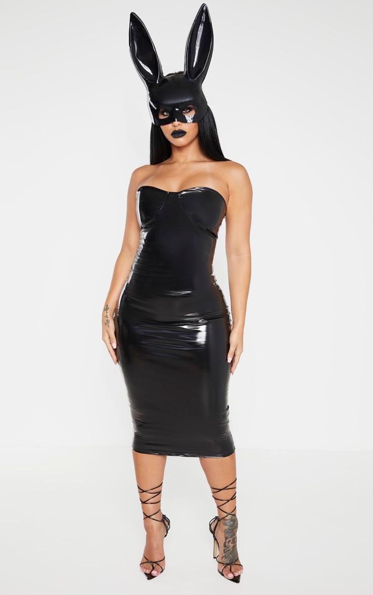Shape - Robe mi-longue en vinyle noir à détails bonnets 1
