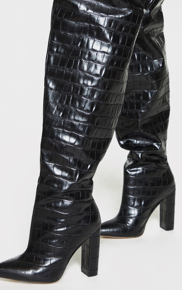 Black Thick Thigh PU Croc High Point Block Heeled Boots 3