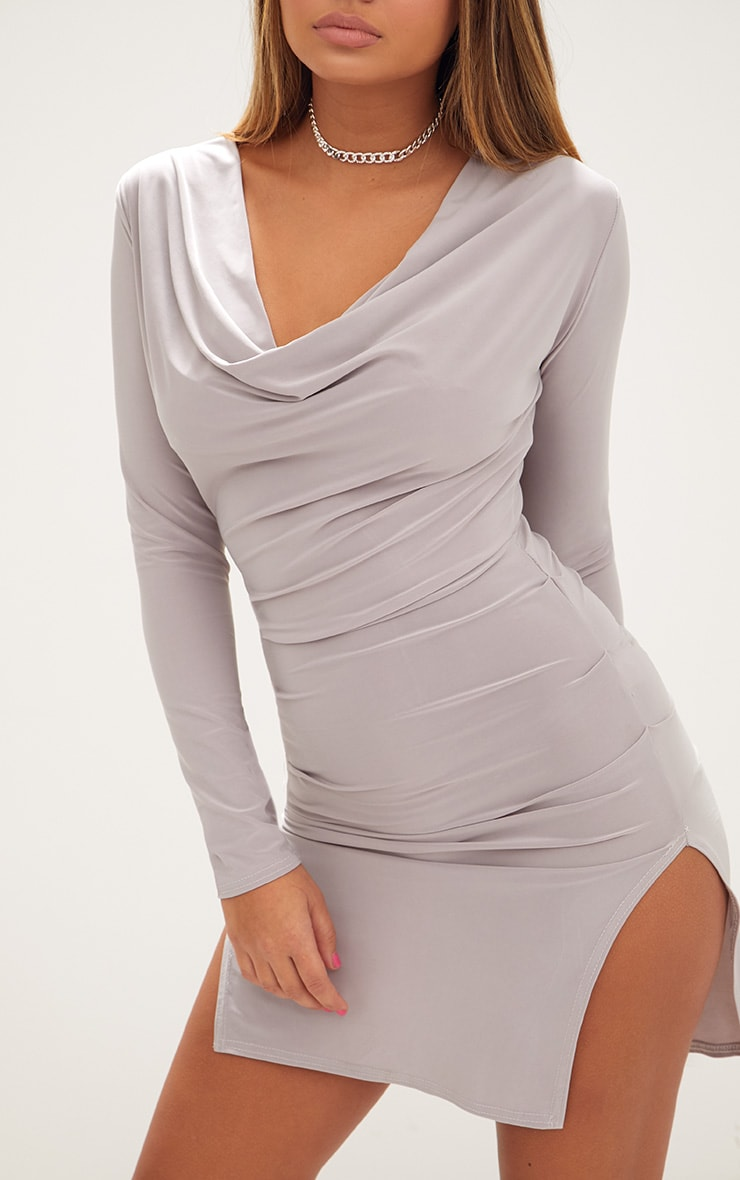 Ice Grey Cowl Neck Long Sleeve Bodycon Dress 4