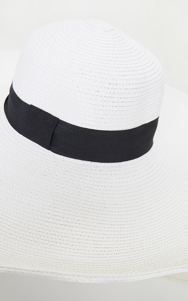 White Straw Wide Boater Hat 4