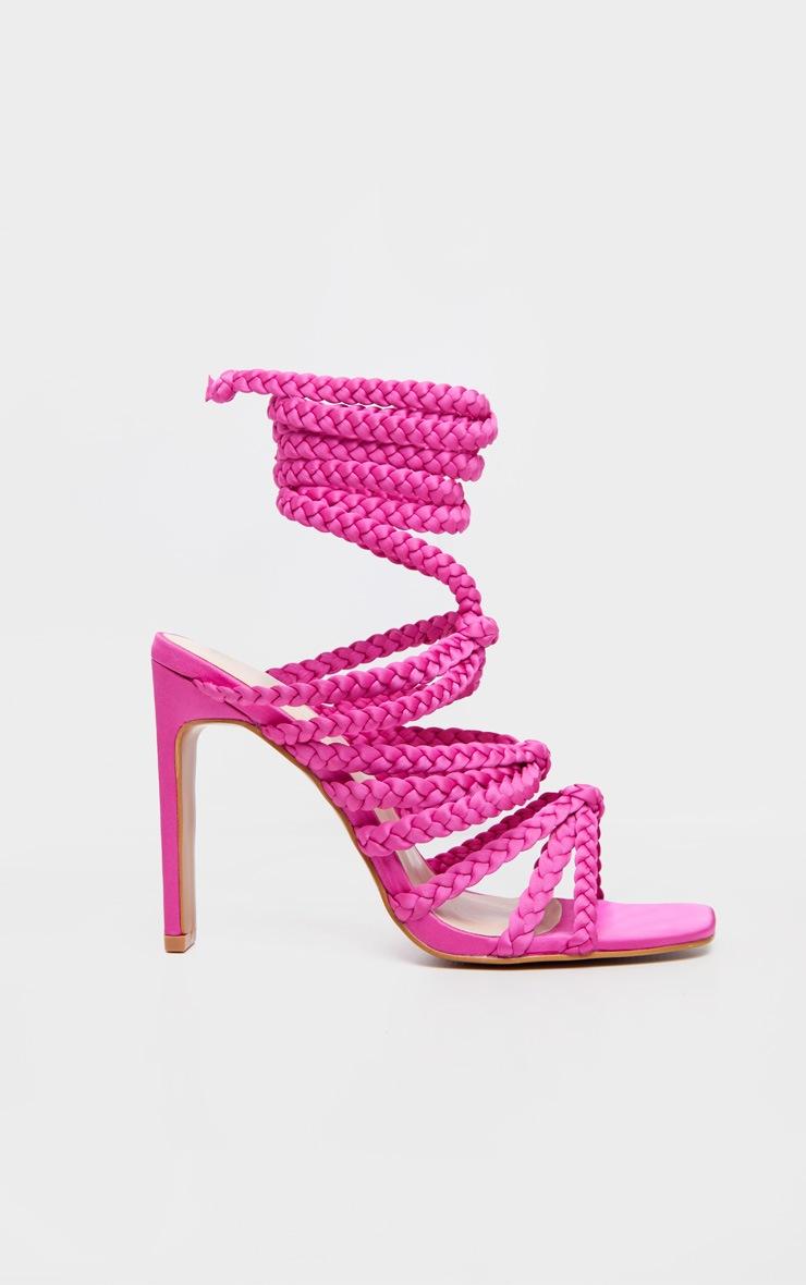 Fuchsia Plaited Square Toe Lace Up Sandal 3