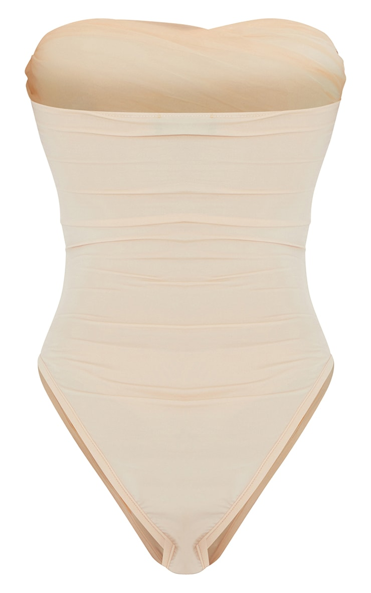 Nude Pleated Organza Detail Bandeau Bodysuit 6