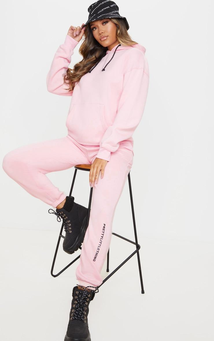 PRETTYLITTLETHING Light Pink Slogan Oversized Pocket Hoodie 3