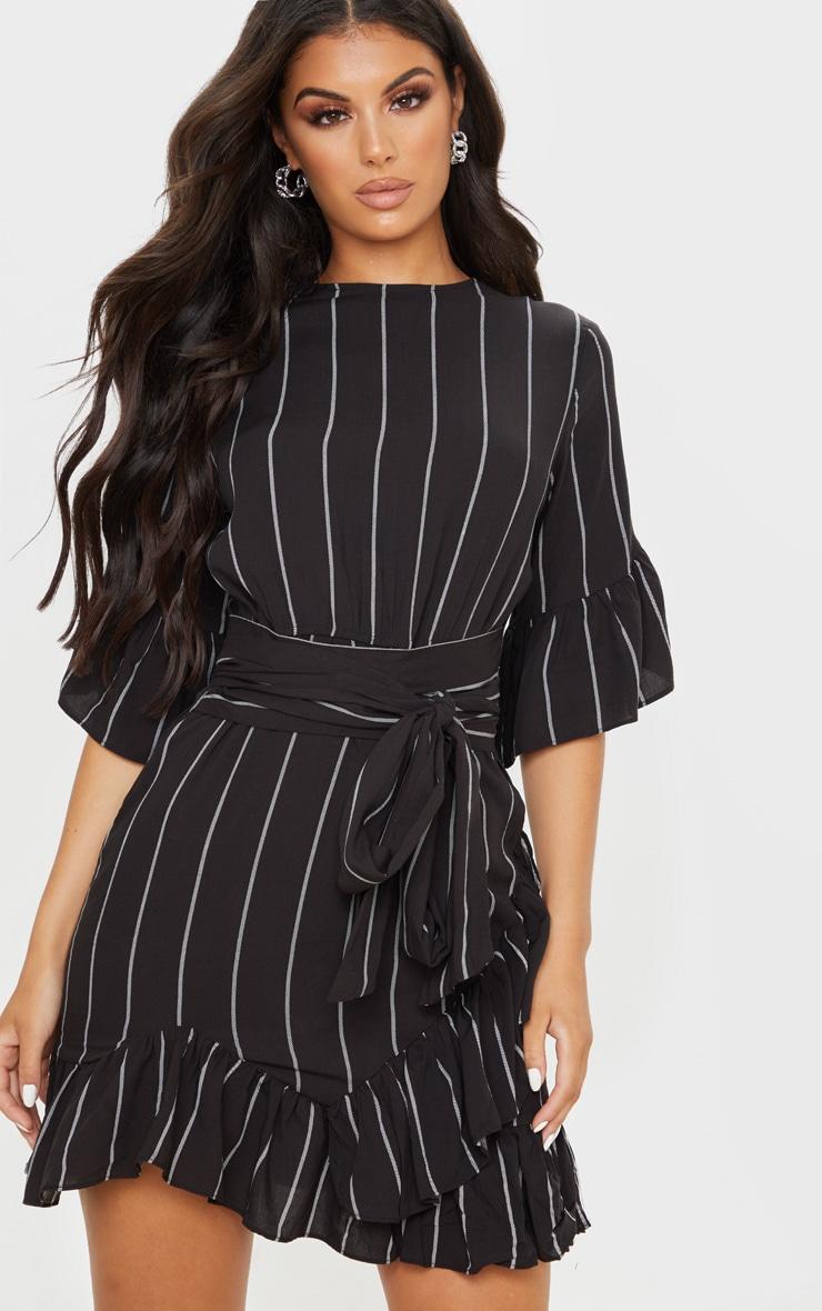 Black Stripe Frill Detail Mini Dress  1