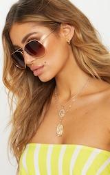 Brown Metal Aviator Sunglasses 1