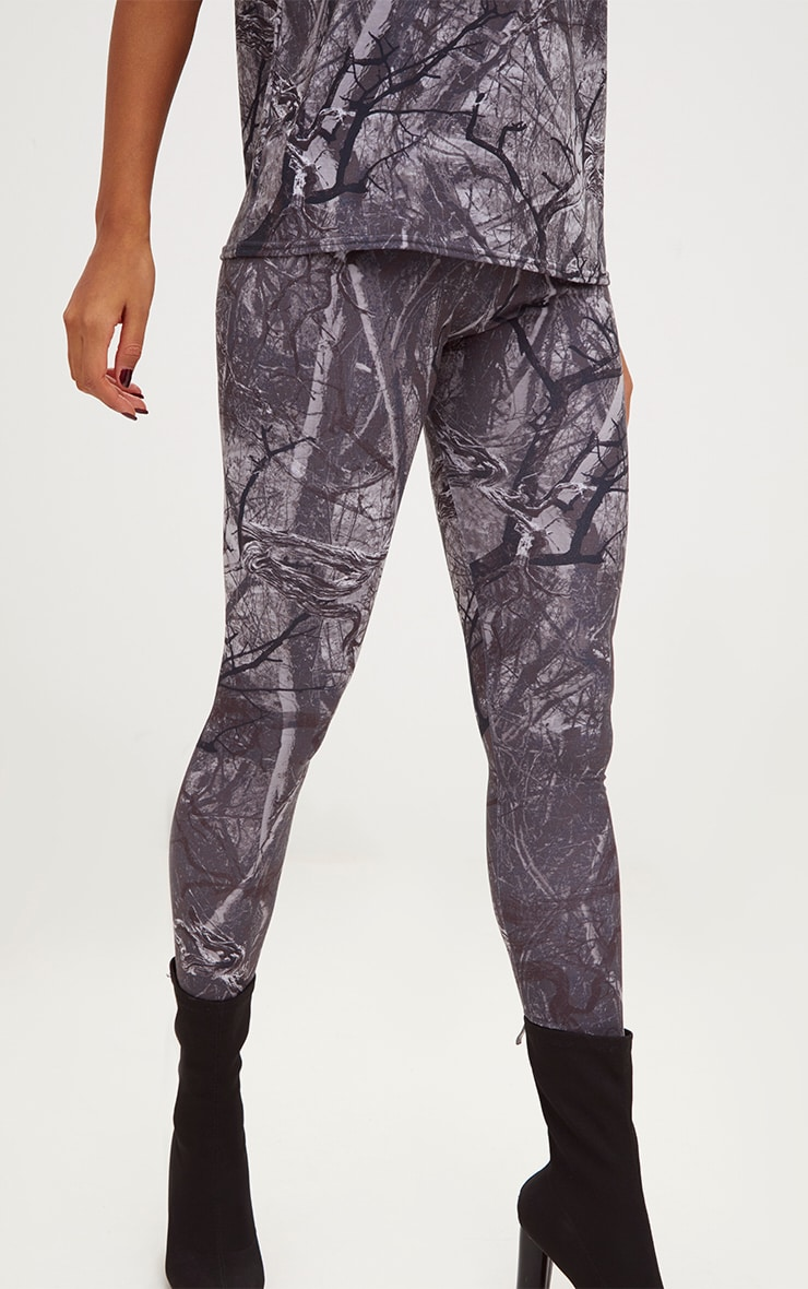 Grey Forest Print Camo Leggings 5