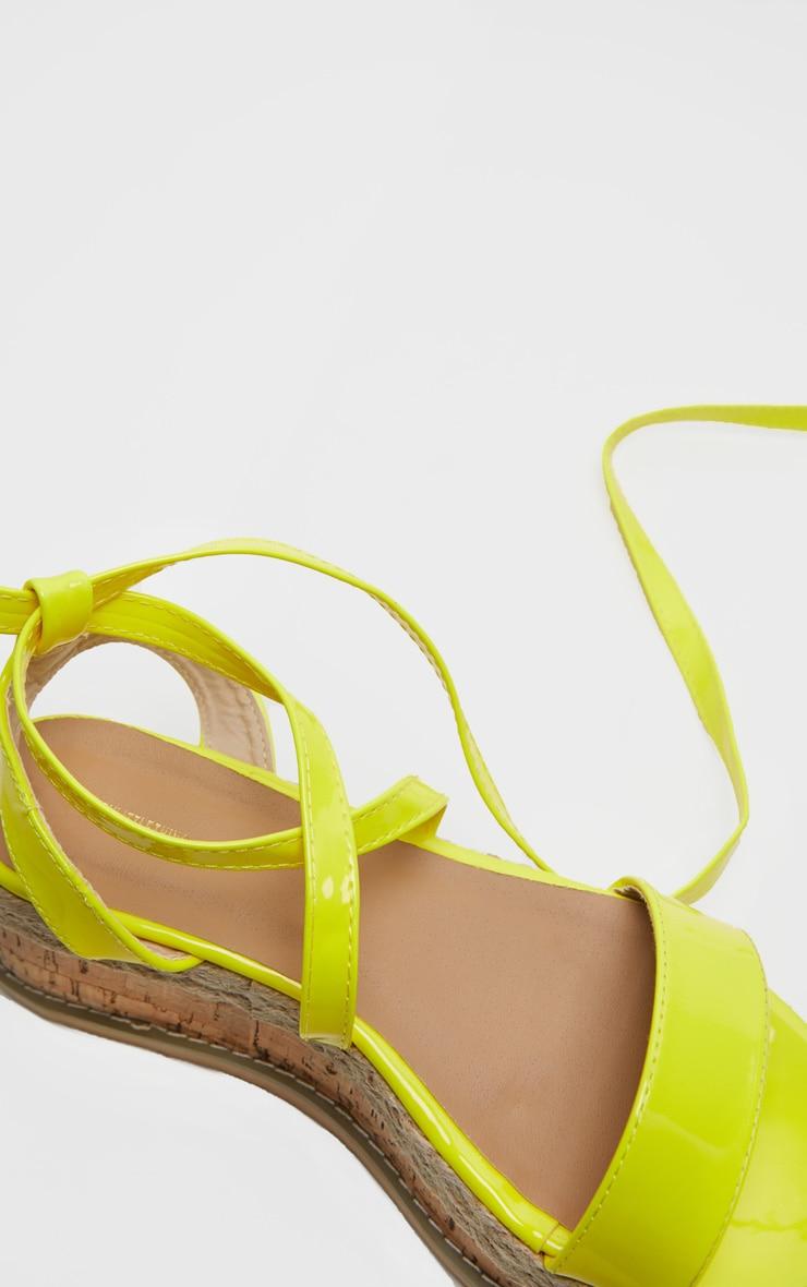 Yellow Neon Flatform Espadrille Sandal 4