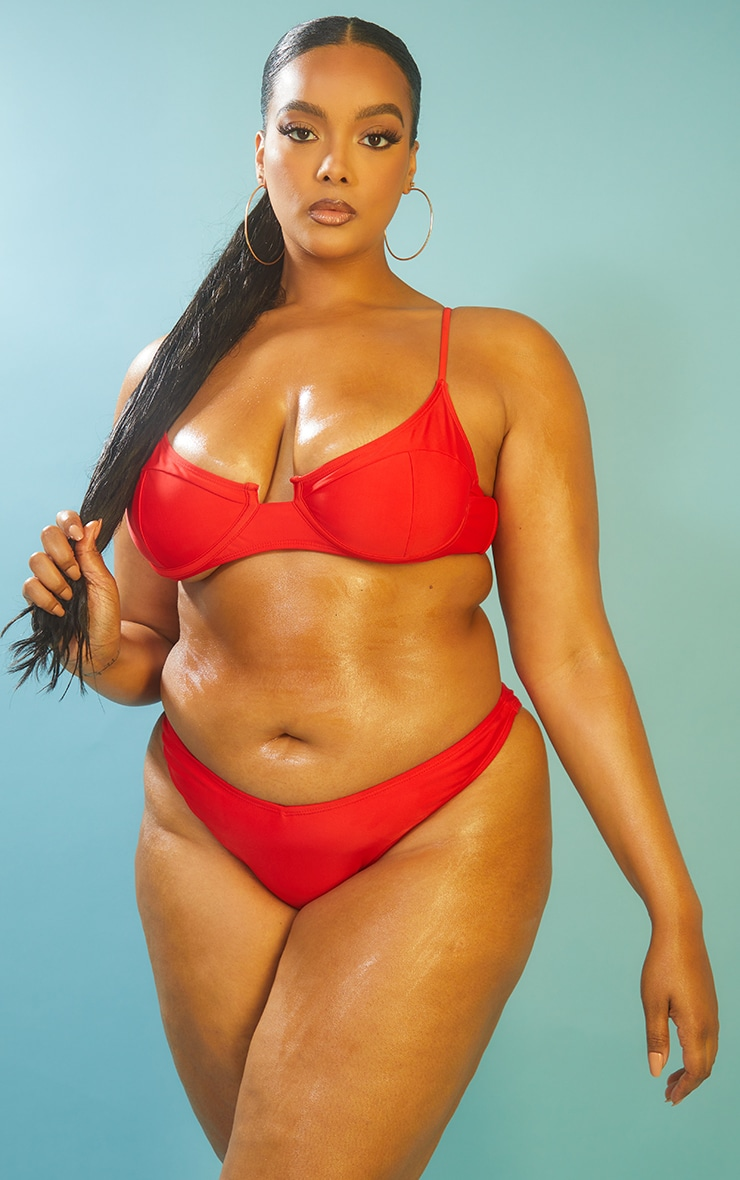 Recycled Plus Red Mix & Match Underwired Balconette Bikini Top 1
