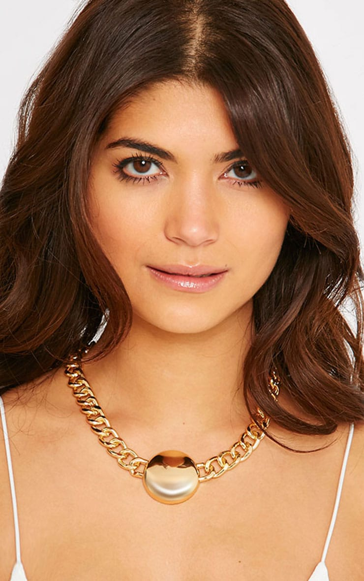 Cammy Gold Circle Chunky Chain Necklace 1