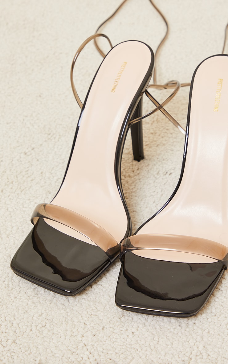 Black Clear PU Square Toe Barely There Lace Up High Heeled Sandals 4