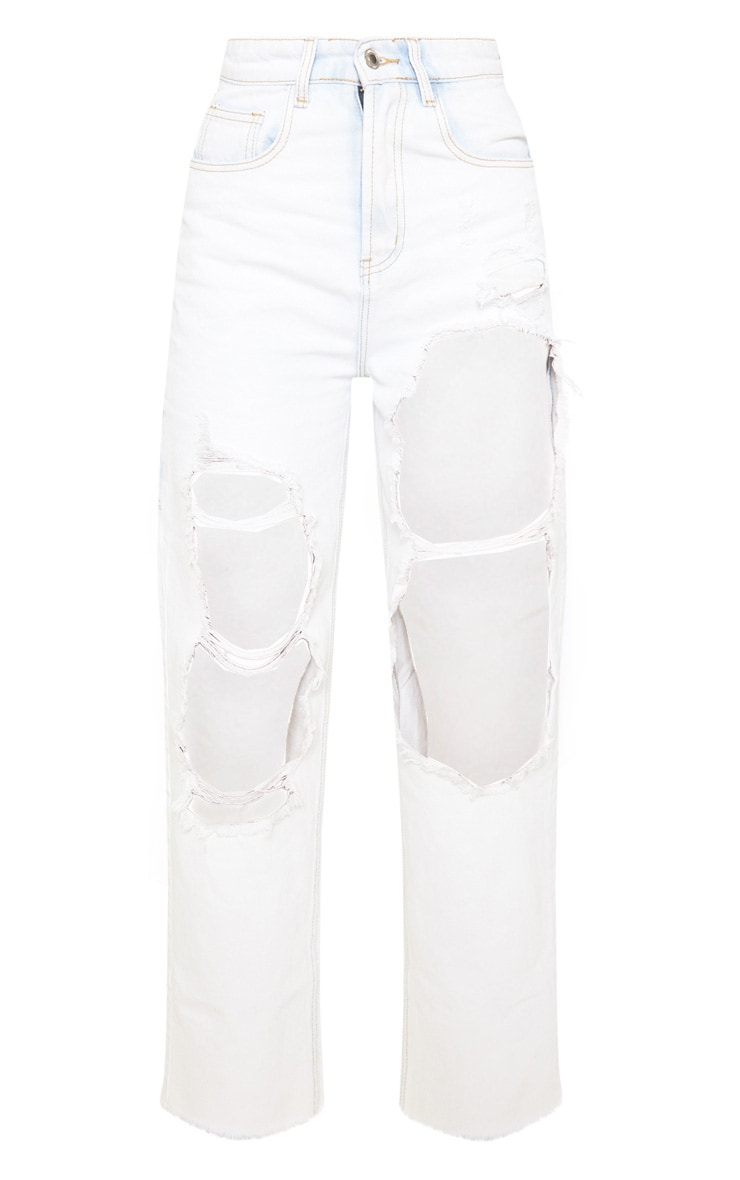 Bleach Wash Open Thigh Baggy Jeans 3