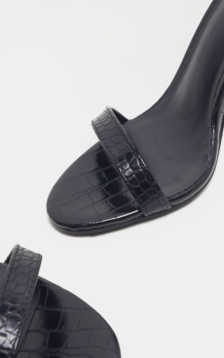 Black Croc May Block Heel Sandal 4