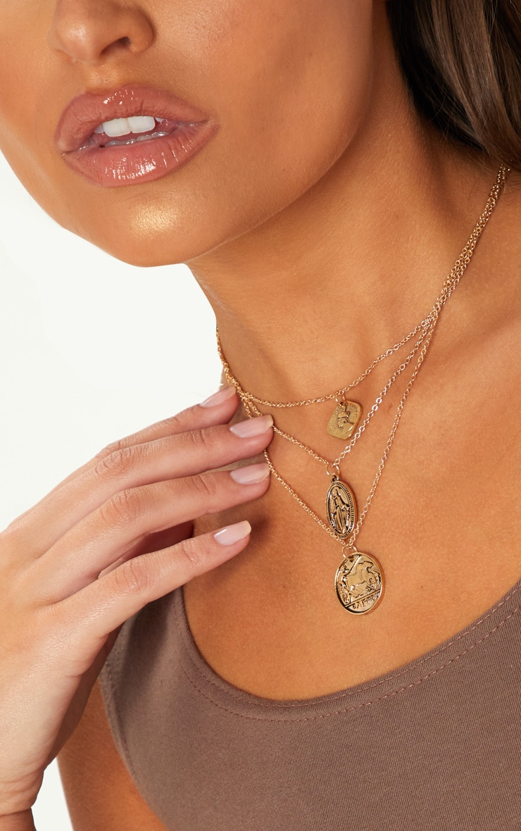 Gold Renaissance Triple Layered Coin Pendant Necklace