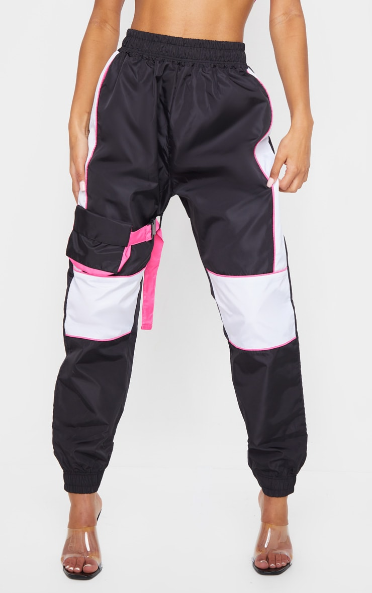 Black Neon Binding Shell Pocket Detail Joggers 2