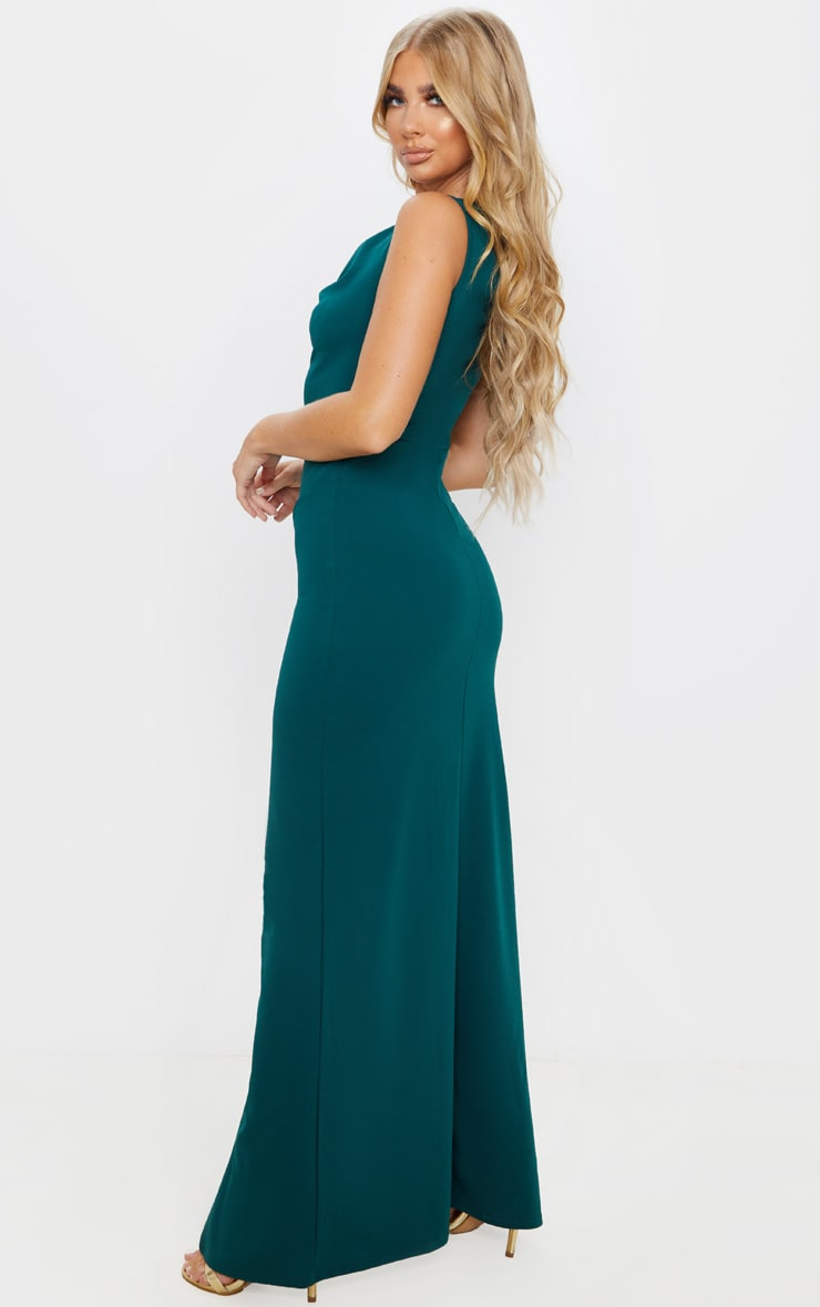 Emerald Green Asymmetric Cowl Neck Maxi Dress 2