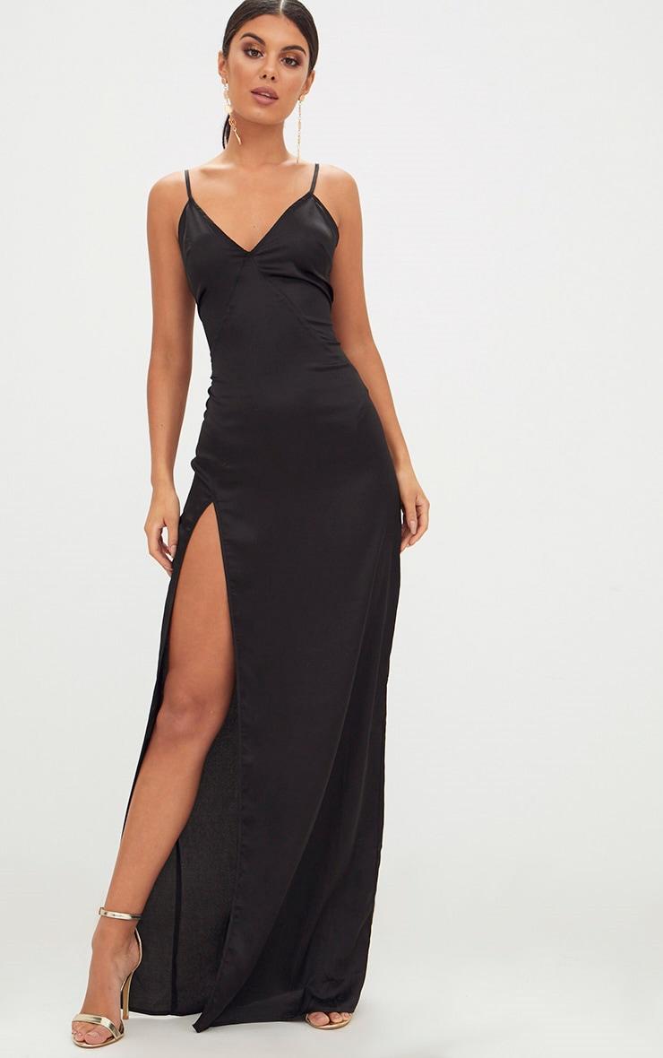 Black Satin Strappy Side Split Maxi Dress 1