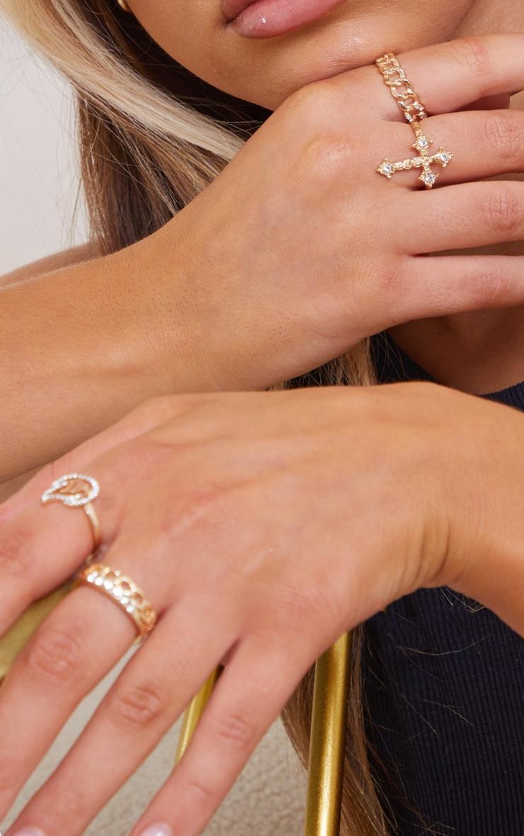 Gold Cross Multi Ring Pack 1