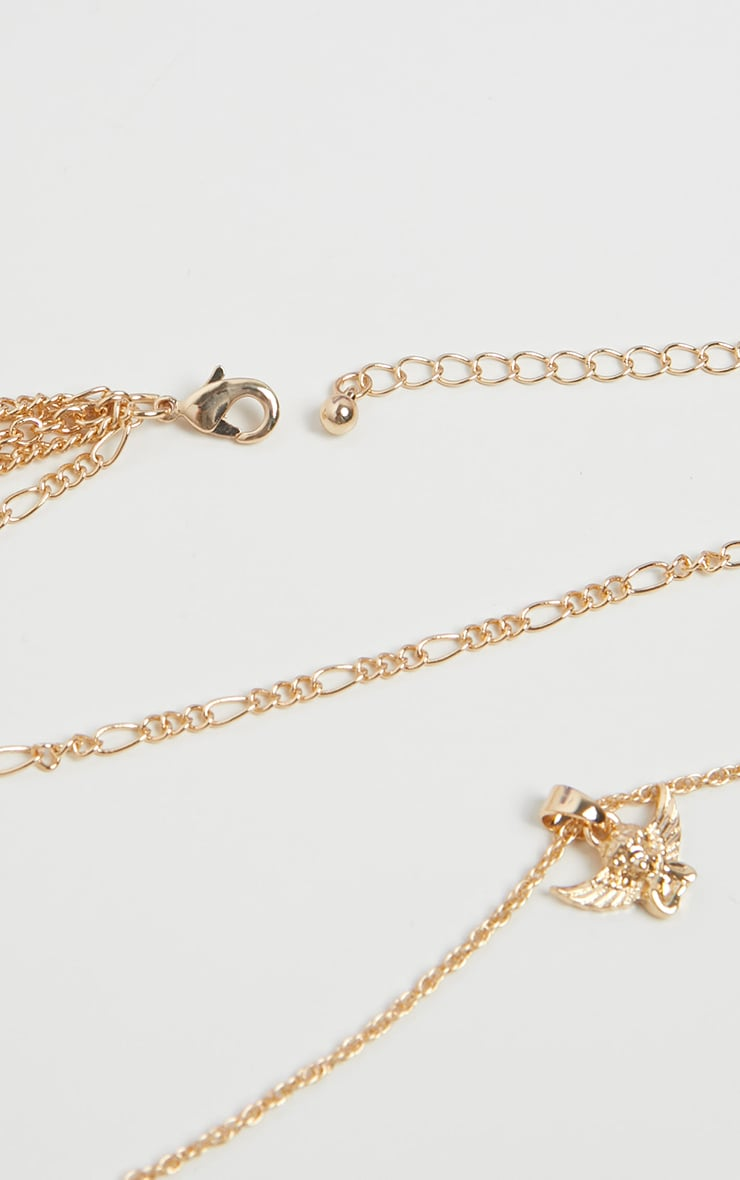 Gold Long Layering Cherub Charm Necklace 4