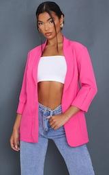 Pink Woven Turn Up Sleeve Blazer 3