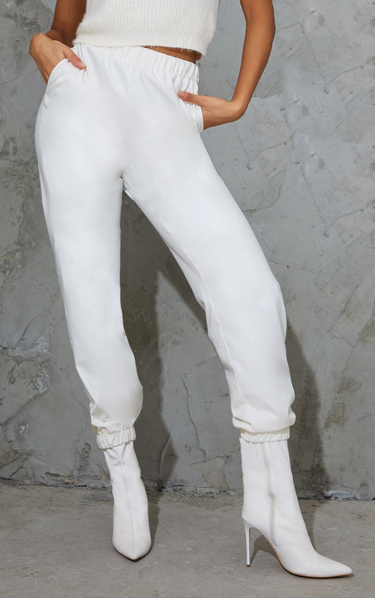 Cream Faux Leather Casual Joggers 2