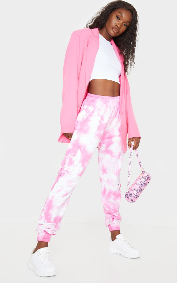 Tall Bright Pink Cargo Tie Dye Joggers 1