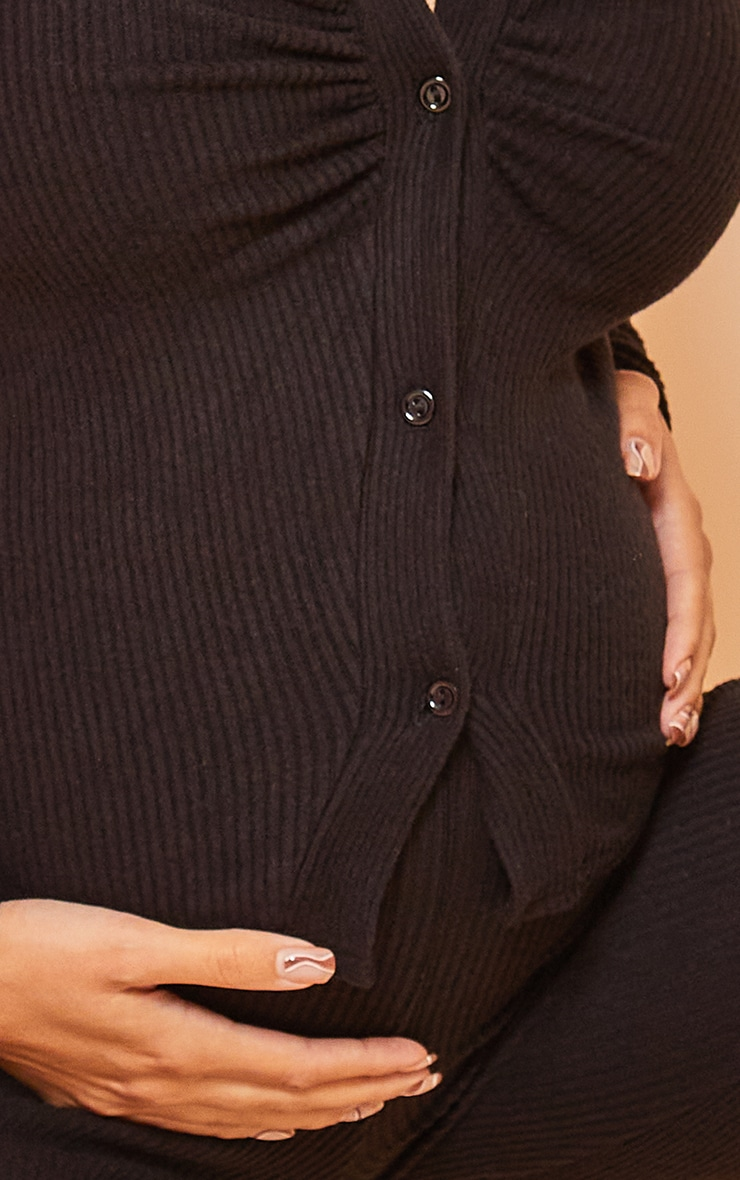 Maternity Black Brushed Rib Ruched Longsleeve Top 4
