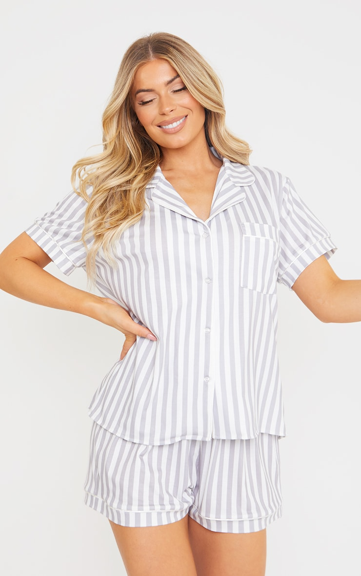 Grey Stripe Print Oversized Jersey Button Up Short PJ Set 3