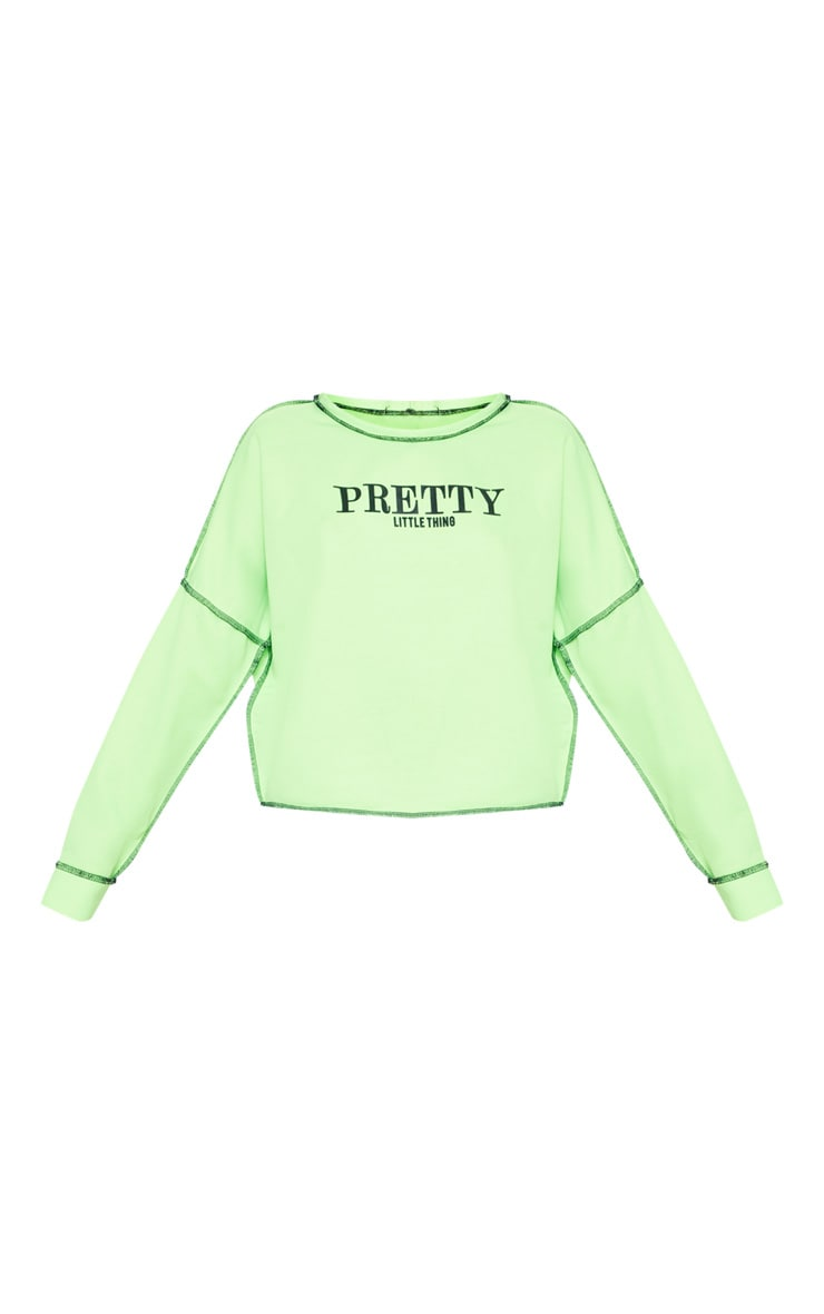 PRETTYLITTLETHING Petite Neon Lime Loose Fit Slogan Top 3