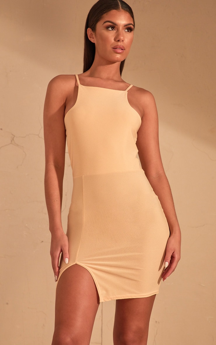Cream 90's Neck Split Front Bodycon Dress  1