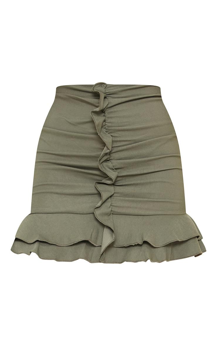 Mini-jupe froncée kaki en maille tissée stretch à volants 6