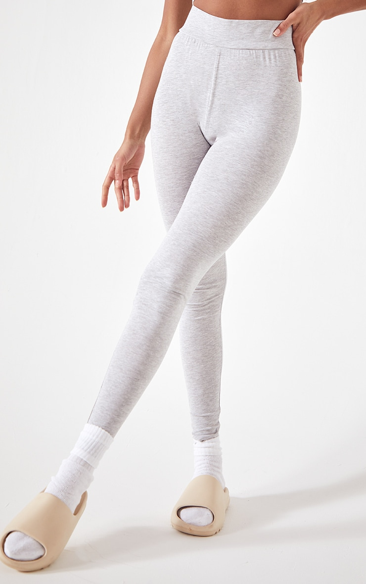 Essential Grey Cotton Blend Jersey High Waisted Leggings 2