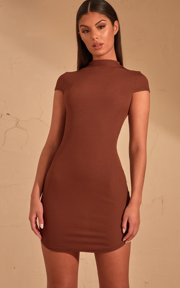 Chocolate Brown Ribbed High Neck Bodycon dress  4