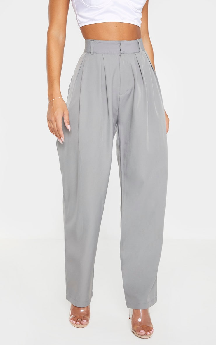 Grey Woven High Waisted Cigarette Leg Pants 2