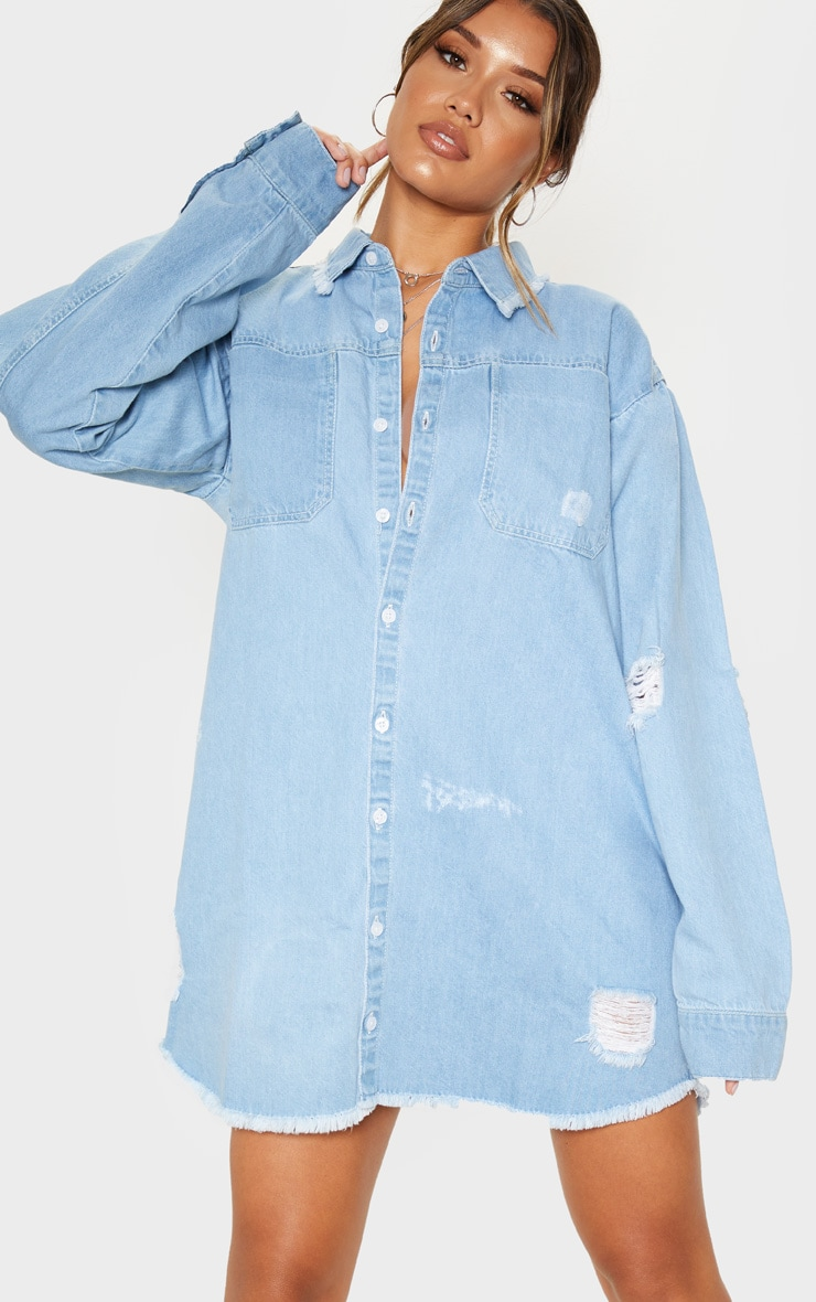 Light Blue Wash Distressed Denim Shirt Dress 1