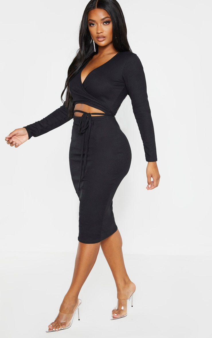 Shape Black Ribbed Wrap Waist Midi Dress 4