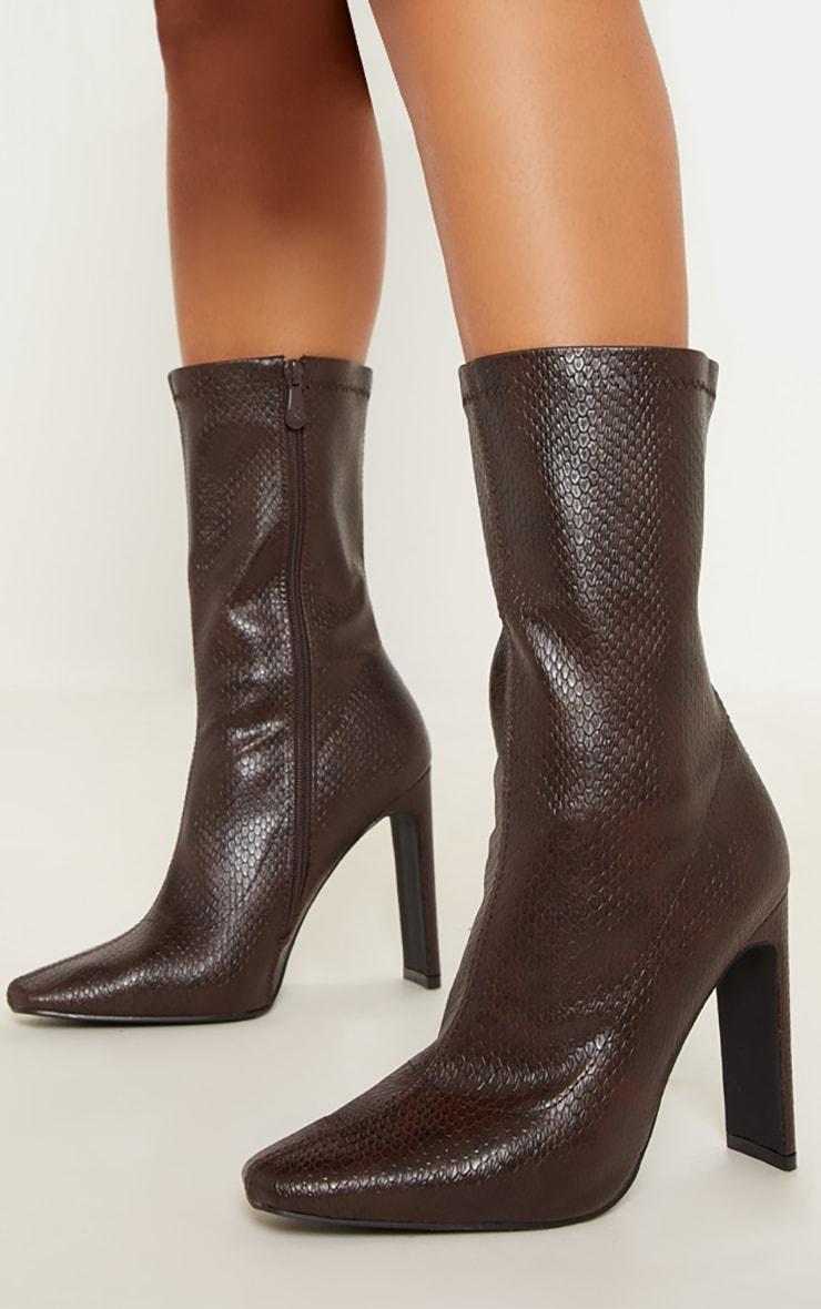 Brown Snake Heel Sock Boot