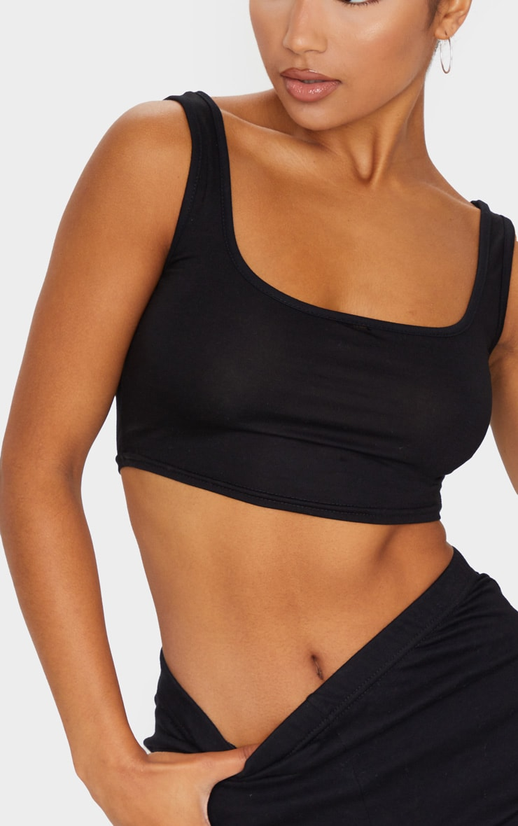 Essential Black Cotton Blend Scoop Neck Crop Top 4