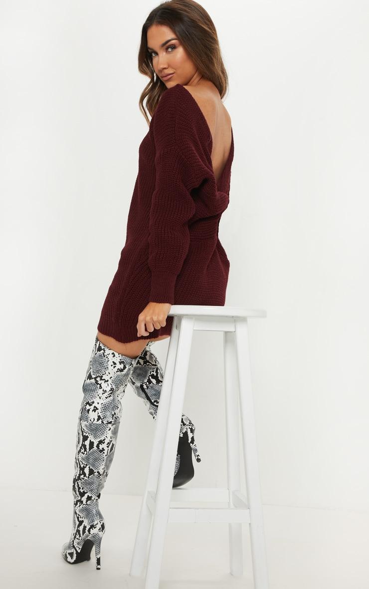 Burgundy Knitted V Neck Twist Detail Sweater Dress 4